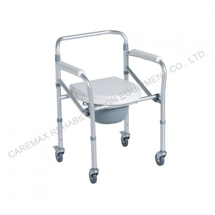 CAREMAX Folding Aluminum Commode Chair With 3 Inches Wheels