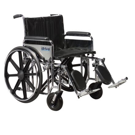 DRIVE Sentra EC Bariatric Steel Wheelchair with Elevating Leg Rest - 22 inch