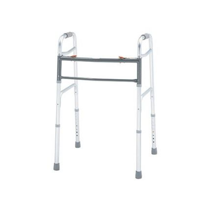 MERITS Deluxe Aluminium Folding Walker Without Wheel (Bariatric)-Two Button